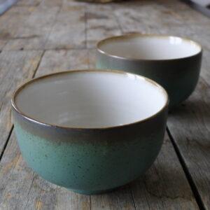 Bol 70's en céramique - Vert et gris