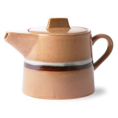 théière 70's en céramique brun